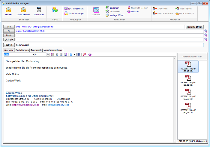 Email-Client Octagon CRM Software